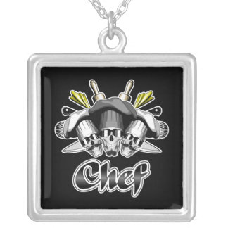 Chef Skull and Tools of the Trade Square Pendant Necklace