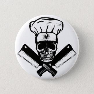Chef Skull (B&W) 6 Cm Round Badge