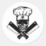 Chef Skull (B&W) Round Sticker
