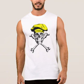 Chef Skull Crossbones: Yellow Sleeveless Shirt