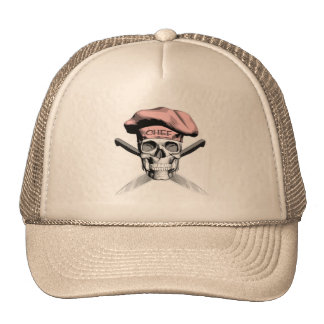 Chef Skull Crossed Knives Pink Hat