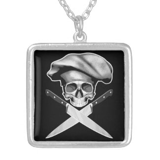 Chef Skull n Knives Square Pendant Necklace