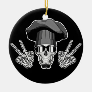 Chef Skull: Peace Sign Christmas Ornament