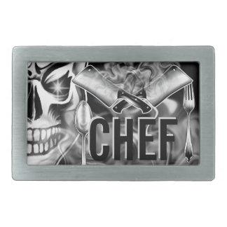 Chef Skull: Smoking Cleavers Rectangular Belt Buckle
