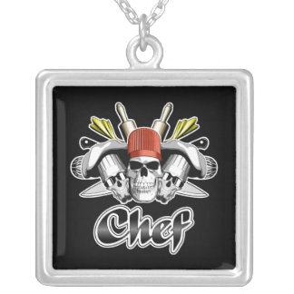 Chef Skull: Tools of the Trade Square Pendant Necklace