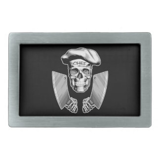 Chef Skull with Butcher Knives Rectangular Belt Buckles