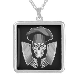 Chef Skull with Butcher Knives Square Pendant Necklace