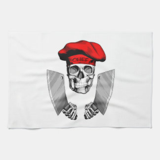 Chef Skull with Butcher Knives Tea Towel