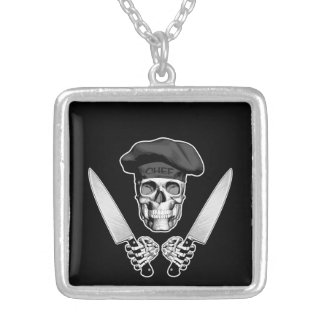 Chef Skull with Chef Knives Jewelry