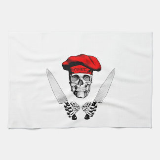 Chef Skull with Chef Knives Tea Towel
