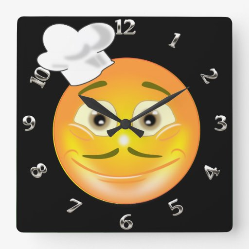 Chef Smiley Clock with 20 background colours