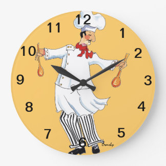 Chef Tossing Wall Clock