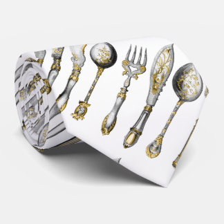 Chef utensils place setting tie