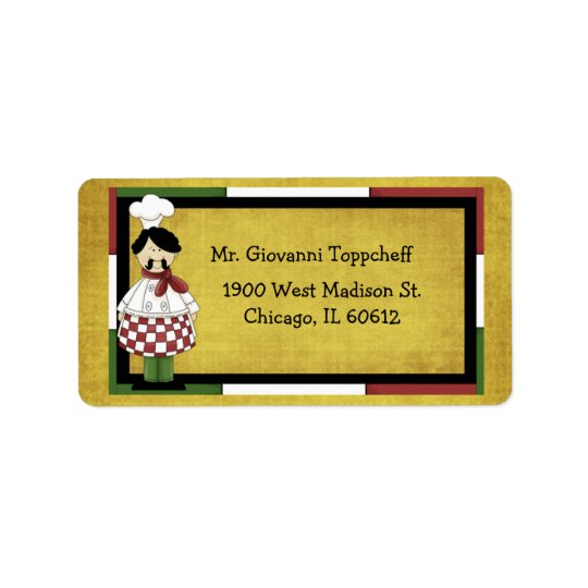 Chef Wearing Red Chequered Apron Label