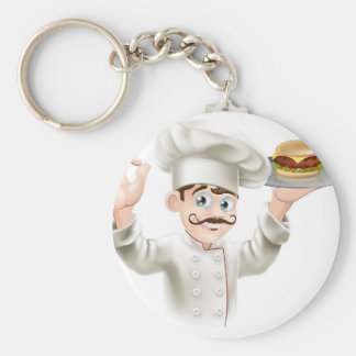 Chef with burger keychains