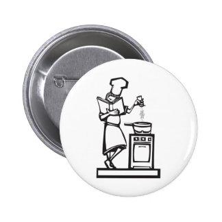 Chef with cookbook 6 cm round badge