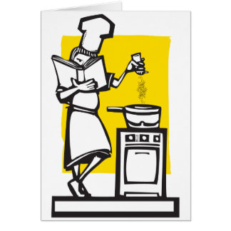 Chef with cookbook card
