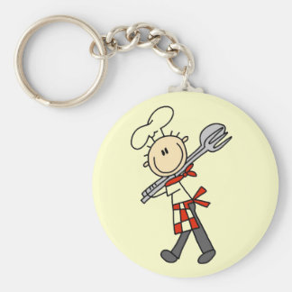 Chef with Salad Tongs Tshirts and Gifts Basic Round Button Key Ring