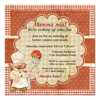 Chef with Spaghetti and Meatball Pasta Party 13 Cm X 13 Cm Square Invitation Card