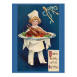 Chef with Turkey on Platter and Wishbone Post Card