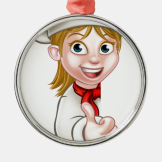 Chef Woman Cartoon Cook Silver-Colored Round Decoration