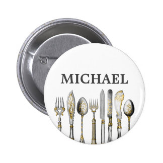 Chefs catering business cutlery 6 cm round badge