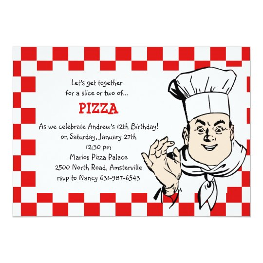 Chef's Check Birthday Party Invitation