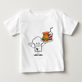 Chefs Hat Character Holder Plate Of Hamburger Baby T-Shirt