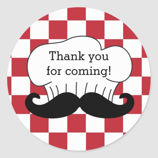Chef's Hat Moustache Italian Pizza Party Thank You
