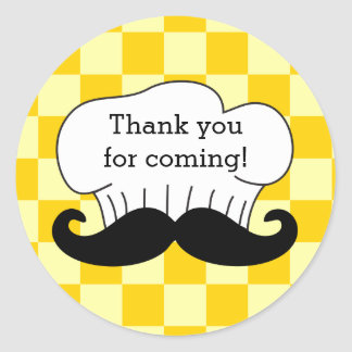 Chef's Hat Mustache Italian Pizza Party Thank You Round Sticker