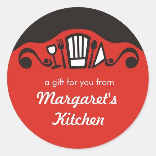Chef's hat utensils wine gift tag kitchen stickers