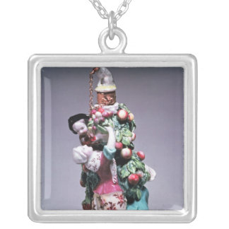 Chelsea bottle depicting a mother and children silver plated necklace