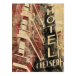 Chelsea Hotel Vintage Watercolor Postcard
