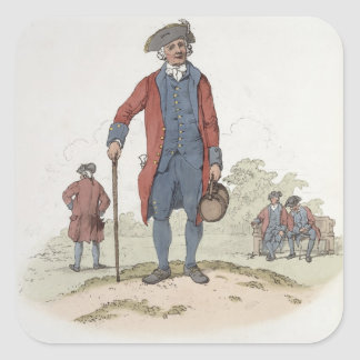 Chelsea Pensioner, from 'Costume of Great Britain' Square Sticker