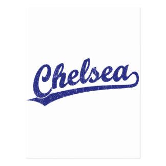 Chelsea script logo in blue postcard