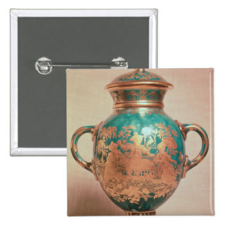 Chelsea vase and lid with gilt chinoiserie 15 cm square badge