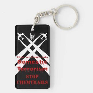 Chemical Dispersants areTerrorism dark background Double-Sided Rectangular Acrylic Key Ring