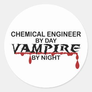 Chemical Engineer Vampire by Night Round Sticker