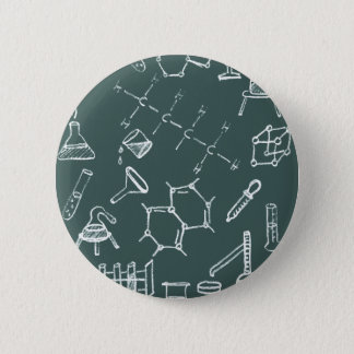 Chemical lab equipment scribbles 6 cm round badge