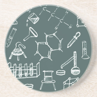 Chemical lab equipment scribbles coaster