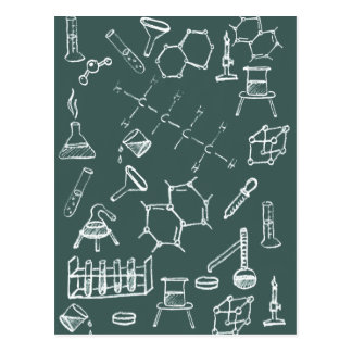 Chemical lab equipment scribbles postcard