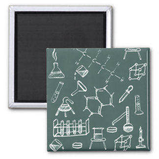 Chemical lab equipment scribbles square magnet