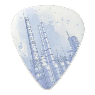 Chemical plant & watercolor background acetal guitar pick