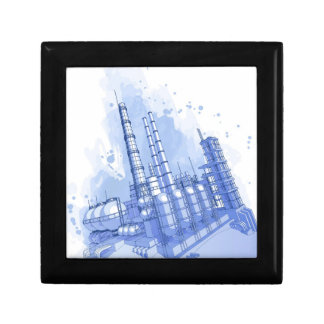 Chemical plant & watercolor background gift box