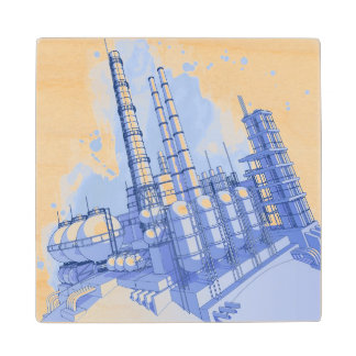 Chemical plant & watercolor background maple wood coaster