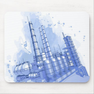 Chemical plant & watercolor background mouse mat