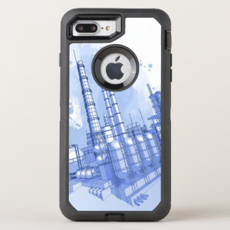 Chemical plant & watercolor background OtterBox defender iPhone 8 plus/7 plus case
