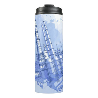 Chemical plant & watercolor background thermal tumbler