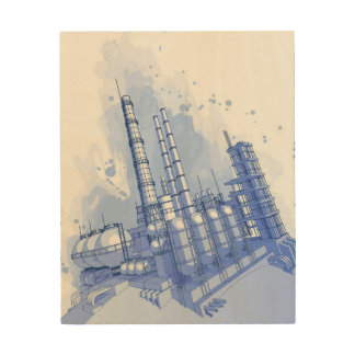 Chemical plant & watercolor background wood print