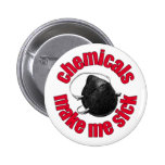 chemicals make me sick - mask 6 cm round badge